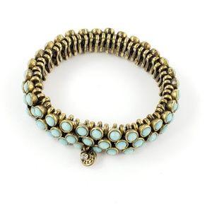 J. Crew Bracelet Pale Turquoise Antique Brass